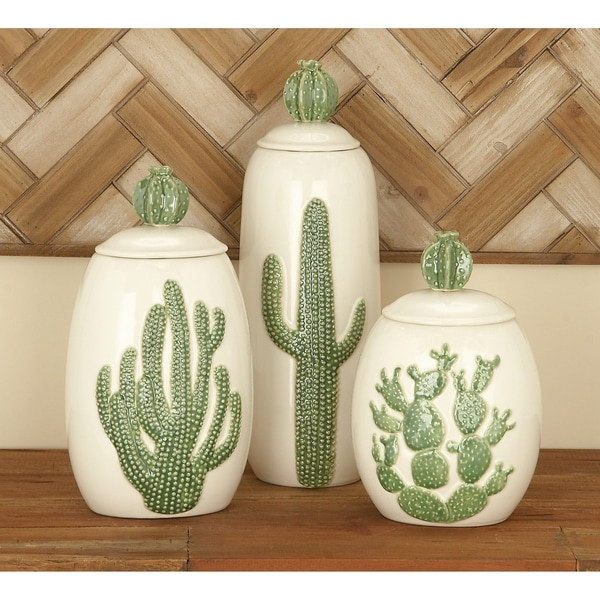 Studio 350 Ceramic Jar Set of 3, 10 inches, 12 inches, 14 inches high