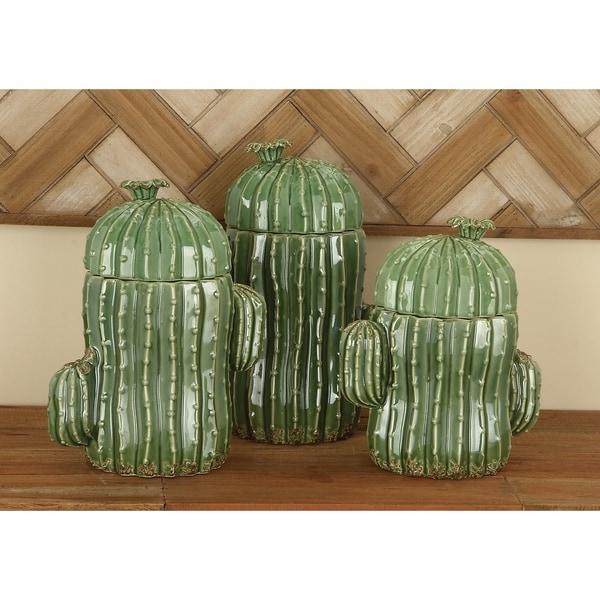 Studio 350 Ceramic Cactuc Jars Set of 3, 9 inches, 10 inches, 11 inches high