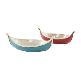 Copper Grove Sharbot 2-piece Blue/ Red Ceramic Boat Set