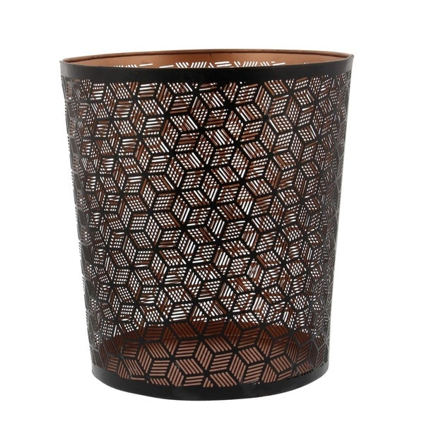 The Curated Nomad Varina-Enon Metal Black Waste Can (9 inches wide, 10 inches high)