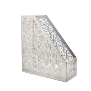 The Curated Nomad Varina-Enon Metal Silver Magazine Holder 11 inches wide, 12 inches high