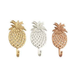 Studio 350 Metal Pinapple Hooks Set of 3, 4 inches wide, 7 inches high