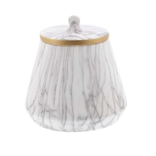 Carson Carrington Alavus Ceramic White Marble Oval Jar 9 inches wide, 10 inches high