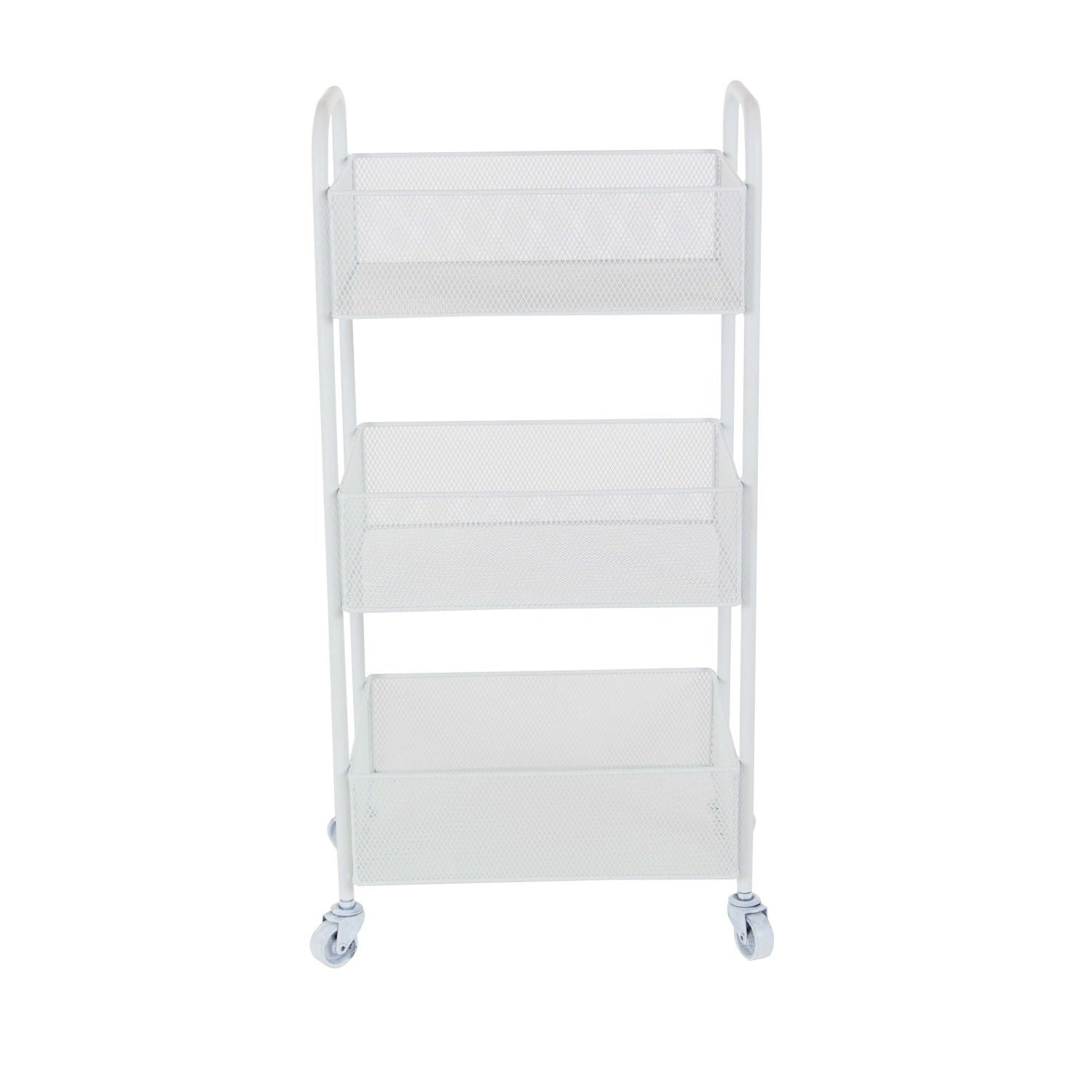 Studio 350 Metal White Rolling Cart 14 inches wide, 29 in...