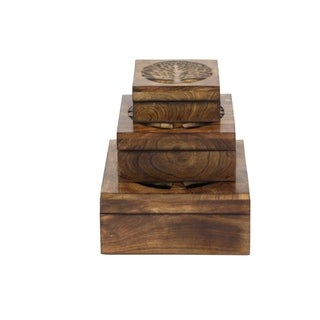 Studio 350 Wood Tree Box Set of 3, 6 inches, 8 inches, 10 inches wide