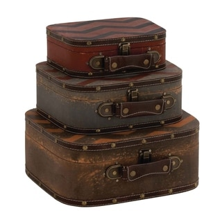 Studio 350 Wood Leather Case Set of 3, 13 inches, 11 inches, 9 inches wide