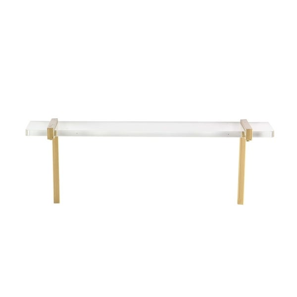 Studio 350 Metal Acrylic Wall Shelf 22 inches wide, 8 inches high. Opens flyout.