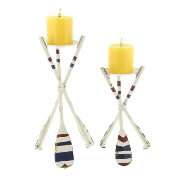 Studio 350 Metal Oar Candle Holder Set of 2, 10 inches, 13 inches high