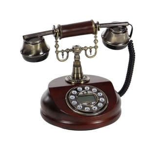Studio 350 Wood 7-inch Wide x 8-inch High Vintage Telephone