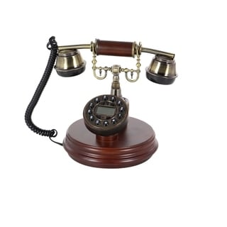 Studio 350 Brass Finish Wood Vintage 7 x 9-inch Telephone