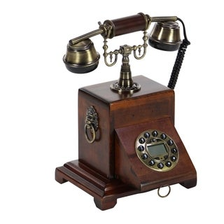 Studio 350 Wood 8-inches Wide x 12-inches High Vintage Telephone