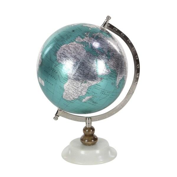 Porch & Den Hernando Silver/ Blue Metal PVC Wood Marble Globe
