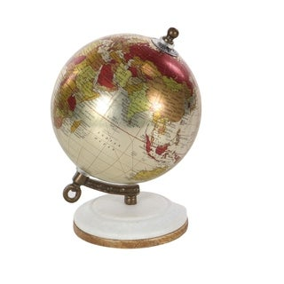 Havenside Home Buckroe Glossy Metal Wood Marble Globe (5'' x 7'')