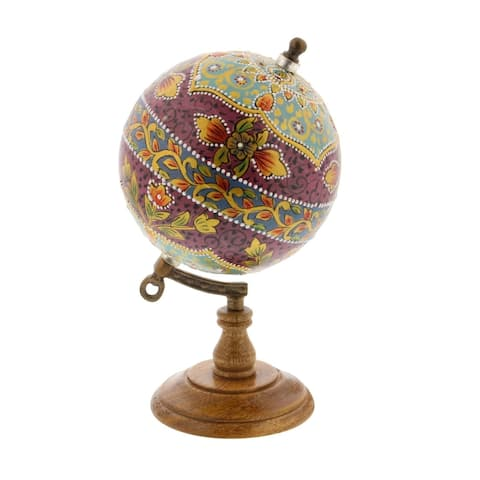 Studio 350 Metal Pu Wood Marble Globe 5 inches wide, 9 inches high