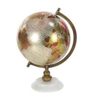 Studio 350 Metal PVC Wood Marble Globe 9 inches wide, 13 inches high