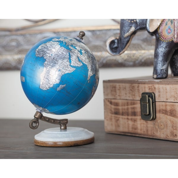 Studio 350 Metal Pu Wood Marble Globe 5 inches wide, 7 inches high