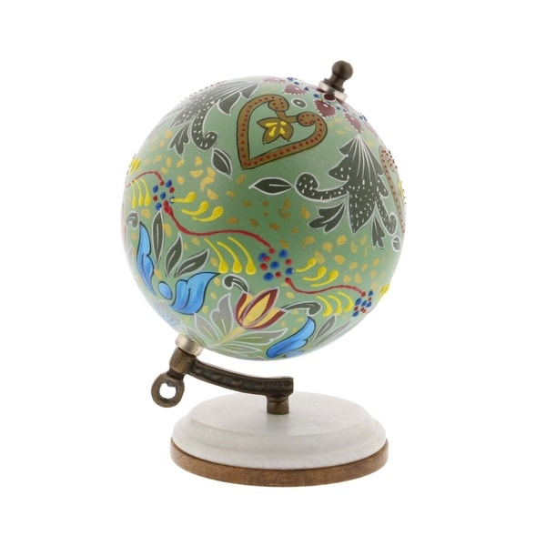 The Curated Nomad Buckroe Metal Wood Marble Globe (5'' x 7'')