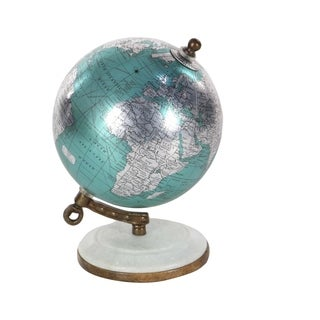 Studio 350 Metal Pu Wood Marble Globe 5 inches wide, 7 inches high