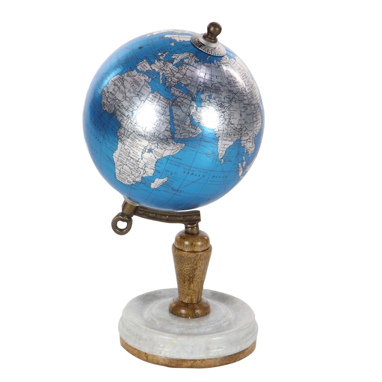 Porch & Den Hernando Metal/ Modern Blue Marble Globe