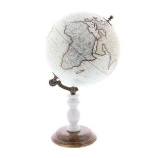 Clay Alder Home Hernando Metal PVC Wood Marble Globe 8 inches wide, 14 inches high