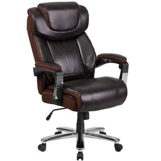 Executive Big And Tall Brown Leather Adjustable Swivel Office Chair With Adjustable Headrest