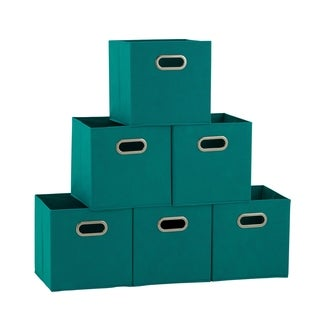 Househole Essentials Foldable Fabric Storage Cubes - Set of 6 - Aqua
