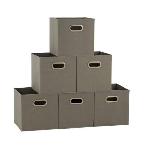 Househole Essentials Foldable Fabric Storage Cubes - Set of 6 - Teafog