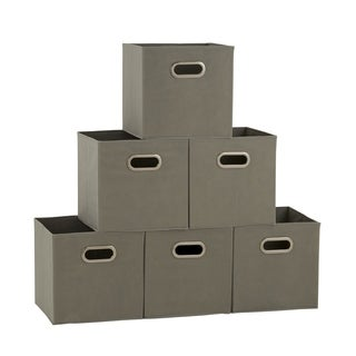 Househole Essentials Foldable Fabric Storage Cubes - Set of 6 - Teafog