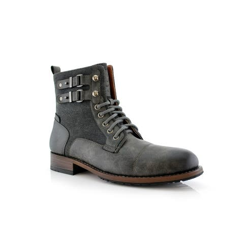 Polar Fox Mitch MPX808576 Mens Boots with Dual Lace-up and Zipper Design for Work or Casual Wear