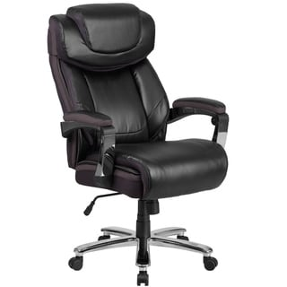 Executive Big And Tall Black Leather Adjustable Swivel Office Chair With Adjustable Headrest
