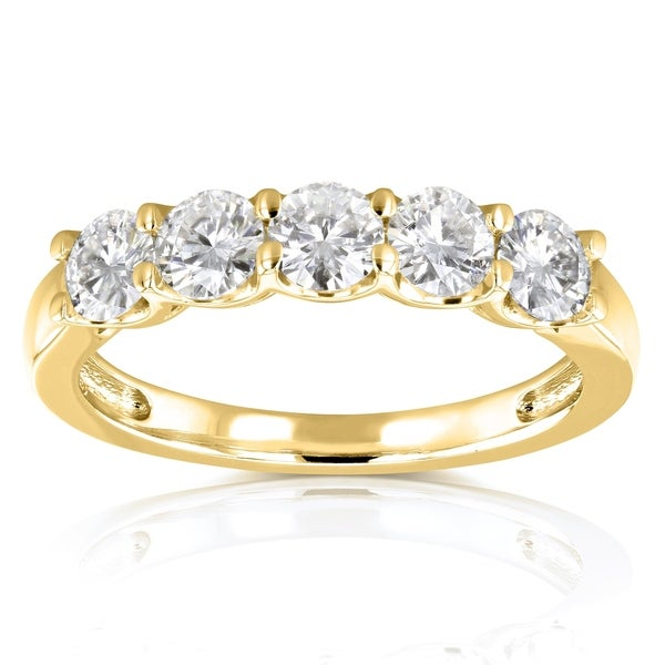 Annello by Kobelli 14k Yellow Gold 4/5ct TGW Round Near Colorless Moissanite Wedding Band. Opens flyout.