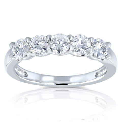 Annello by Kobelli 14k White Gold 4/5ct TGW Round Near Colorless Moissanite Wedding Band