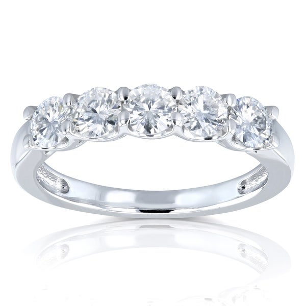 Annello by Kobelli 14k White Gold 4/5ct TGW Round Near Colorless Moissanite Wedding Band. Opens flyout.