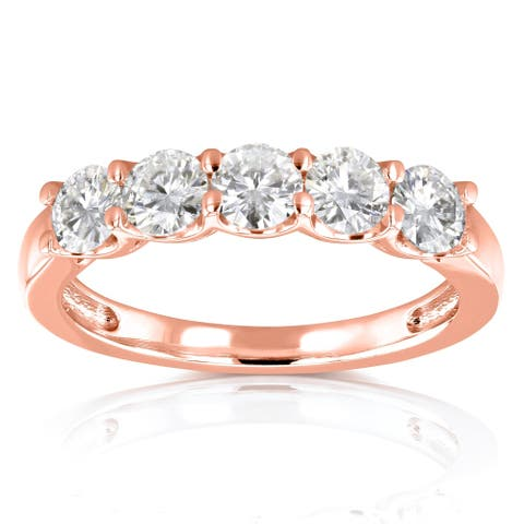 Annello by Kobelli 14k Rose Gold 4/5ct TGW Round Near Colorless Moissanite Wedding Band