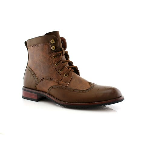 Polar Fox Jonah MPX808567 Mens Ankle Boots with Lace-up and Zipper Design for Work or Casual Wear