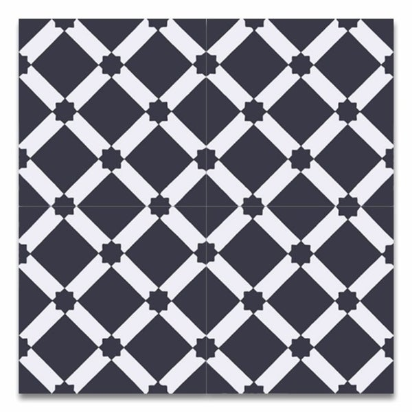 Ait Baha Black And White Handmade Moroccan X Inch Cement And - 8 inch square ceramic tiles