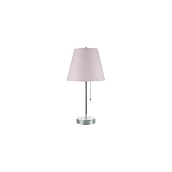 "Q-Max Pink Polished Chrom Table Lamp with Pull Chain 19""H Table Lamp, Pink"