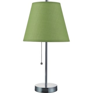 "Q-Max Green Polished Chrom Table Lamp with Pull Chain 19""H Table Lamp, Green"