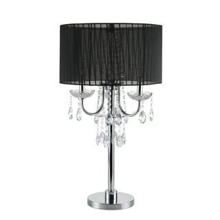 "Q-Max Crystal Inspired Touch 29.5"" H Table Lamp, Black"