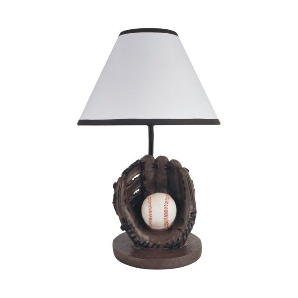 "Q-Max Baseball 15.75"" H Table Lamp, Brown"