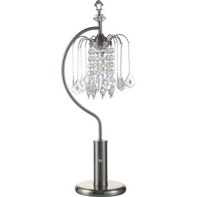 "Q-Max Crystal-Inspired Shade 27"" Table Lamp, Silver"