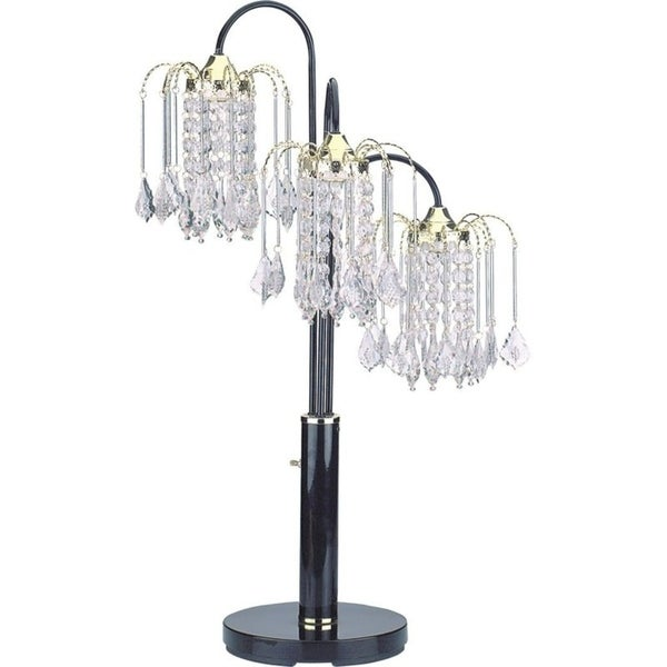 """Q-Max Crystal-Like Shades, Polished Brass34""""H Table Lamp, Black"""
