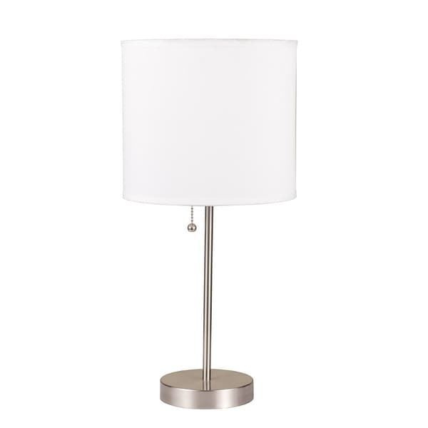 "Q-Max Pull 18.5"" Table Lamp, White"