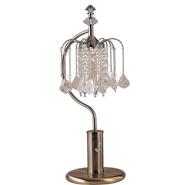 """Q-Max Crystal-Inspired Shade 27"""" Table Lamp, Bronze"""