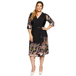 Xehar Womens Plus Size Casual Floral Print Surplice Waist Tie Dress