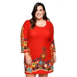 Xehar Womens Plus Size Casual Floral Print Short Mini Shift Dress