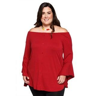 Xehar Womens Plus Size Off Shoulder Button Down Tunic Blouse Top