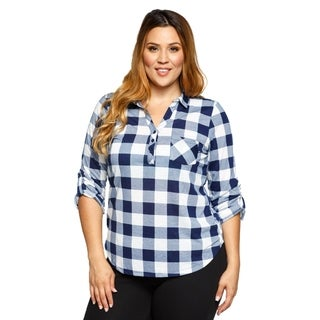 Xehar Womens Plus Size Roll Up Sleeve Loose Plaid Button Down Shirt