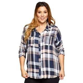Xehar Womens Plus Size Loose Roll Up Sleeve Plaid Button Down Shirt