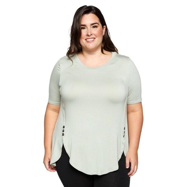 fc54cd86 Xehar Womens Plus Size Button Detail Flowy Hem Tunic Blouse Top. Click to  Zoom